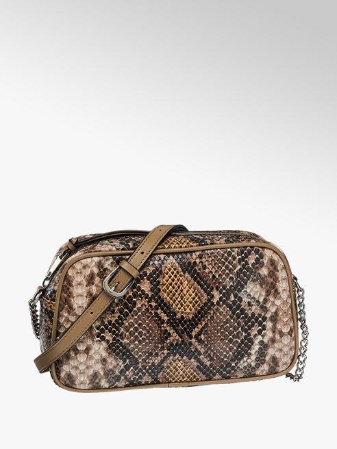 Graceland Beige handtas slangenprint