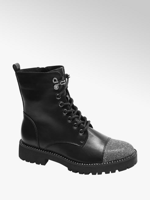 Catwalk Black Glitter Lace Up Ankle Boots