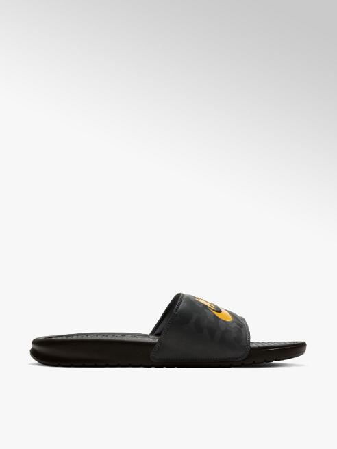 NIKE czarne klapki męskie Nike Benassi z żołtym logo
