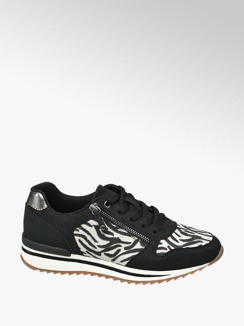 Graceland Zwarte sneaker zebraprint