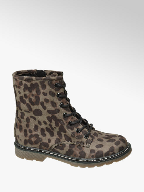 Graceland Taupe veterboot panterprint