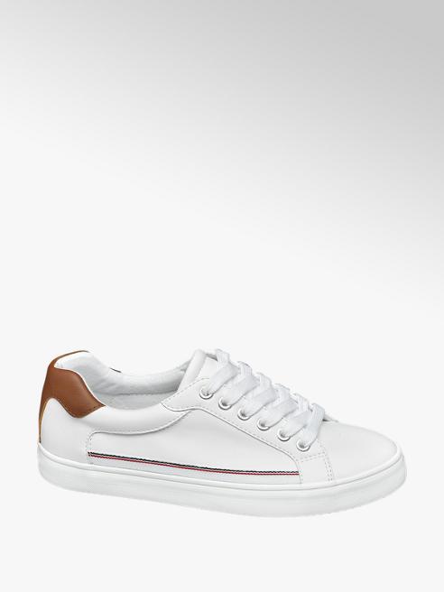 Graceland Witte sneaker cognac detail
