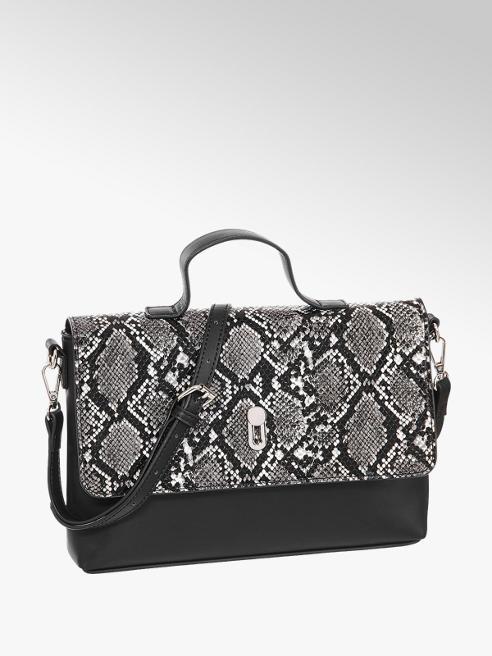 Graceland Zwart grijze handtas slangenprint