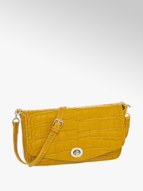 Graceland Oker gele schoudertas slangenprint