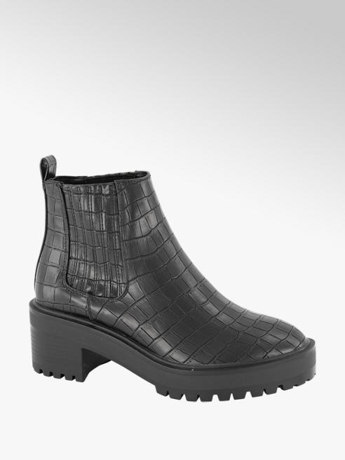 Vero Moda Zwarte enkellaars crocoprint