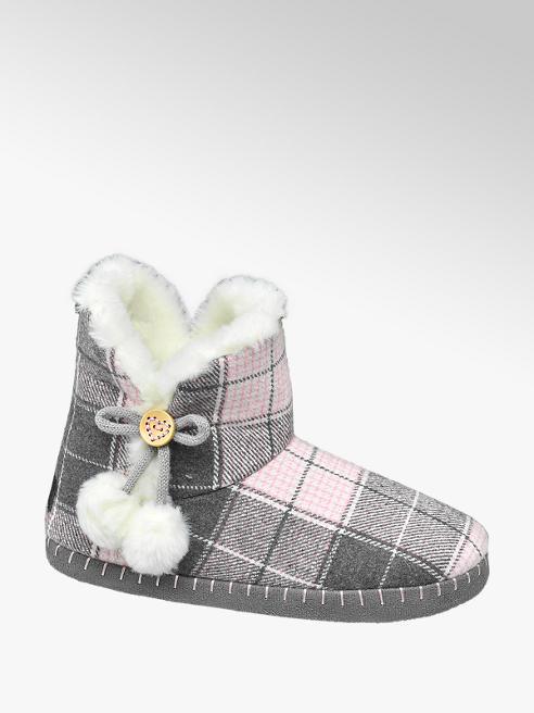 Casa mia Grijs roze halfhoge pantoffel warmgevoerd