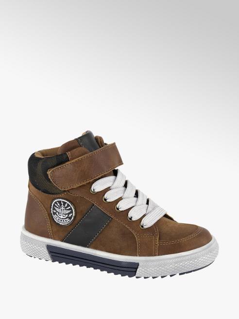 Bobbi-Shoes Bruine halfhoge sneaker klittenband