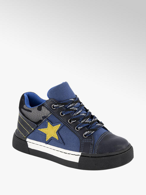 Bobbi-Shoes Blauwe sneaker leren voetbed