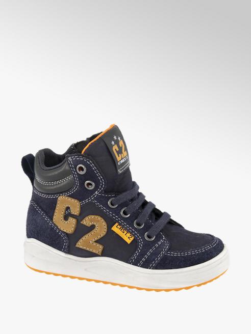 Bobbi-Shoes Donkerblauwe suède halfhoge sneaker