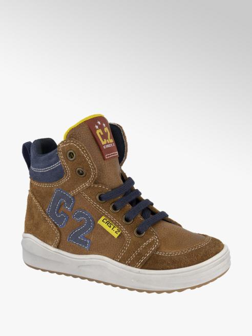Bobbi-Shoes Bruine suède halfhoge sneaker