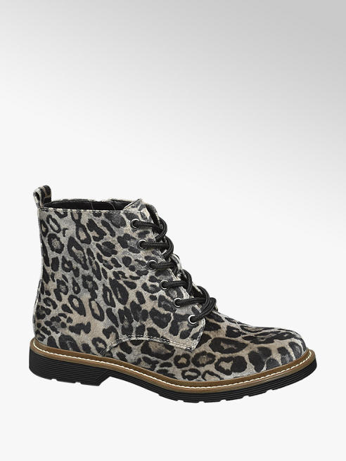 Graceland Grijze veterboot panterprint