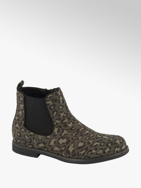 Graceland Groene chelsea boot panterprint