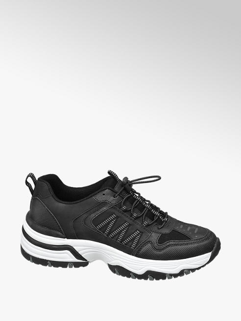 Landrover Zwarte wandelschoen zilveren accenten