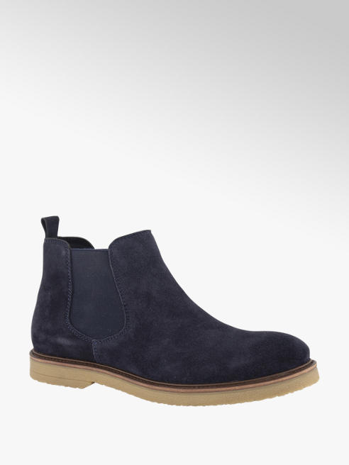 AM shoe Blauwe suède chelseaboot