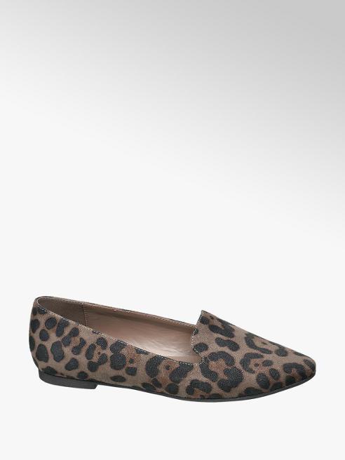Graceland Donkergrijze loafer panterprint
