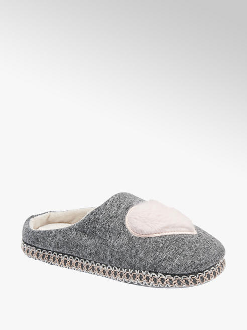 Casa mia Ladies Casa Mia Grey Heart Slippers