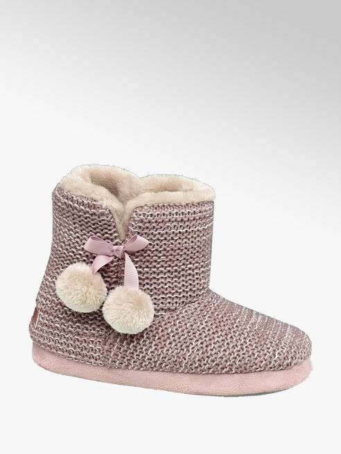 Casa mia Roze pantoffel warm gevoerd