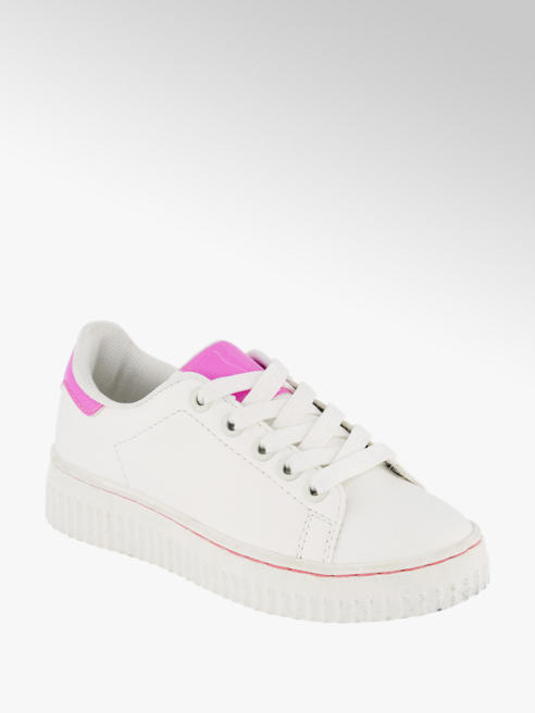 Graceland Wit/roze sneaker platform