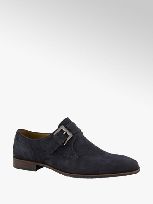 AM shoe Blauwe suède geklede schoen gesp
