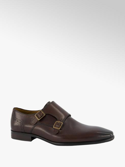 AM shoe Donkerbruine leren geklede schoen gesp