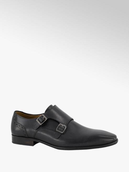 AM shoe Donkerblauwe leren geklede schoen gesp