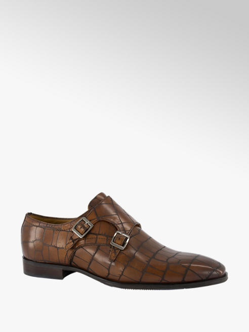 AM shoe Bruine leren geklede schoen crocoprint