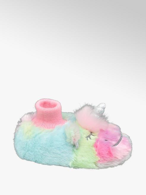 Multikleur pantoffel eenhoorn