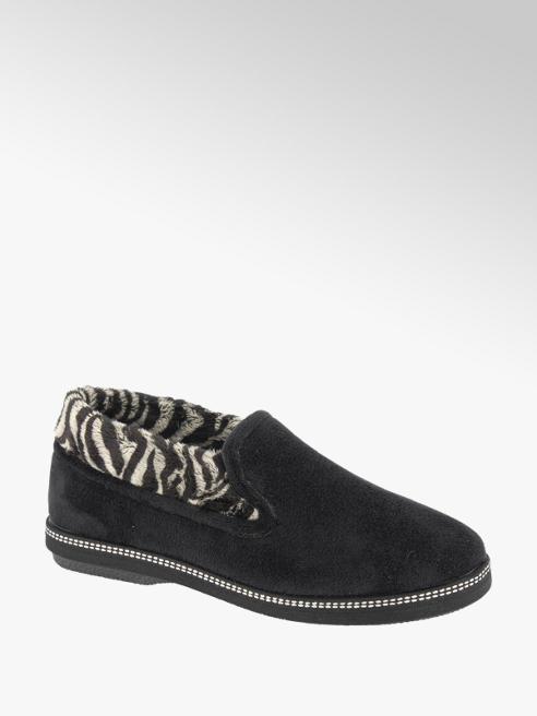 Casa mia Zwarte pantoffel zebraprint