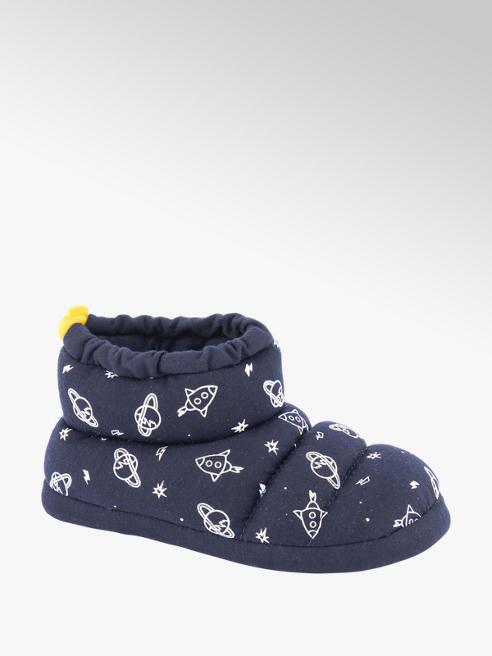 Blauwe halfhoge pantoffel