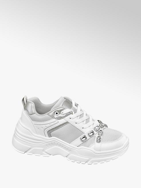 Graceland Witte chunky sneaker strass