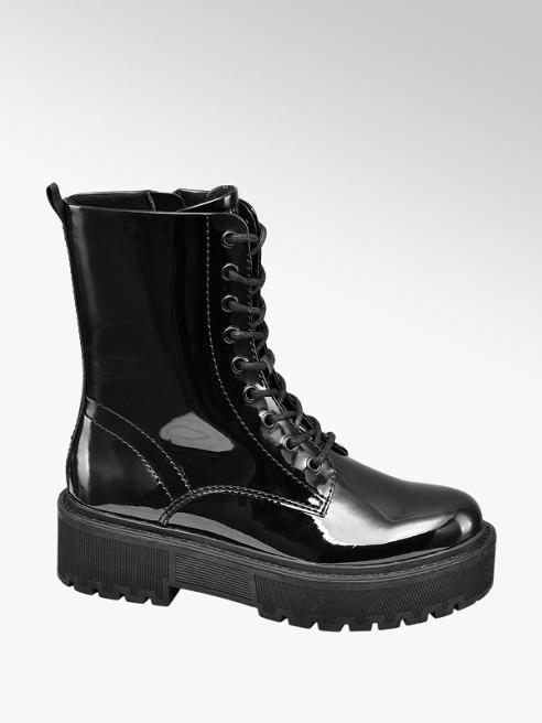 Catwalk Black Patent Lace Up Biker Boots