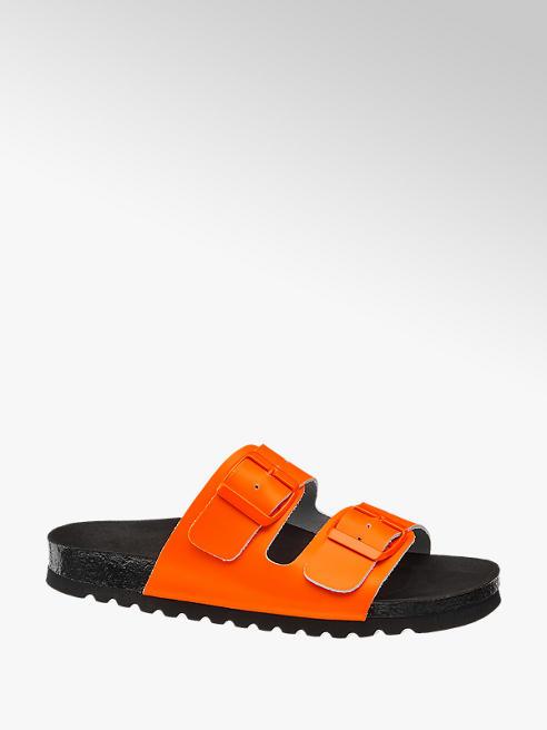 Vero Moda pomarańczowe klapki damskie Vero Moda na czarnej podeszwie
