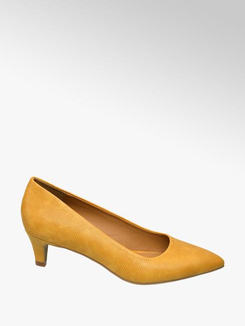 Graceland Oker gele pump crocoprint
