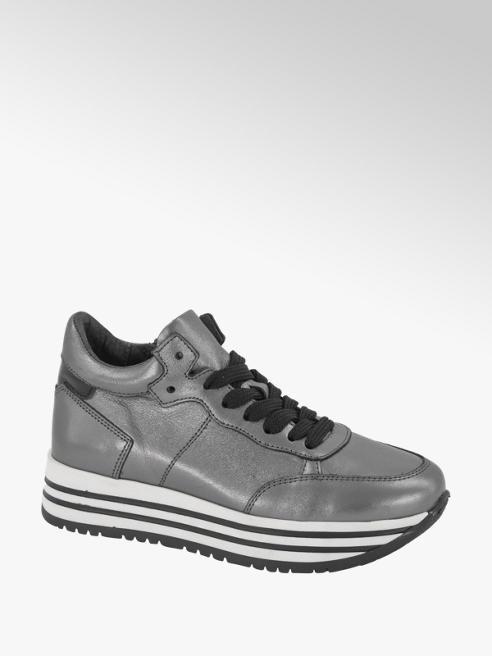 Graceland Grijze leren metallic sneaker