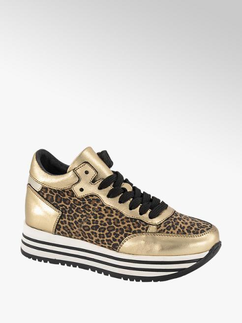 Graceland Bruine leren metallic sneaker