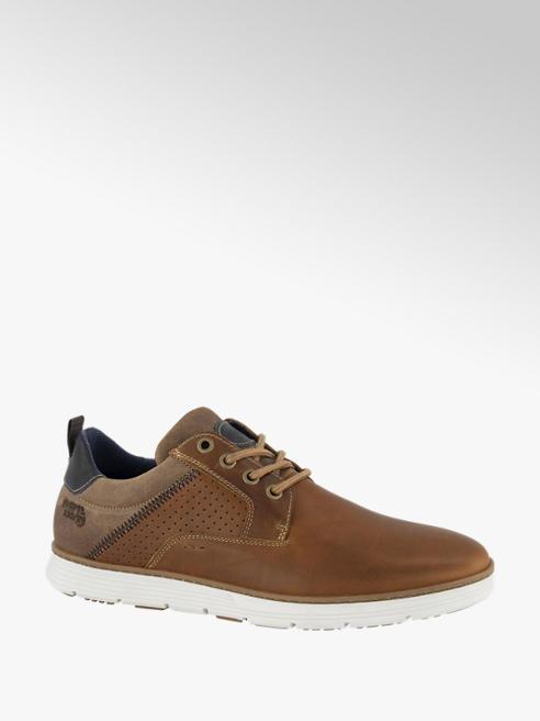 AM shoe Bruine leren sneaker vetersluiting