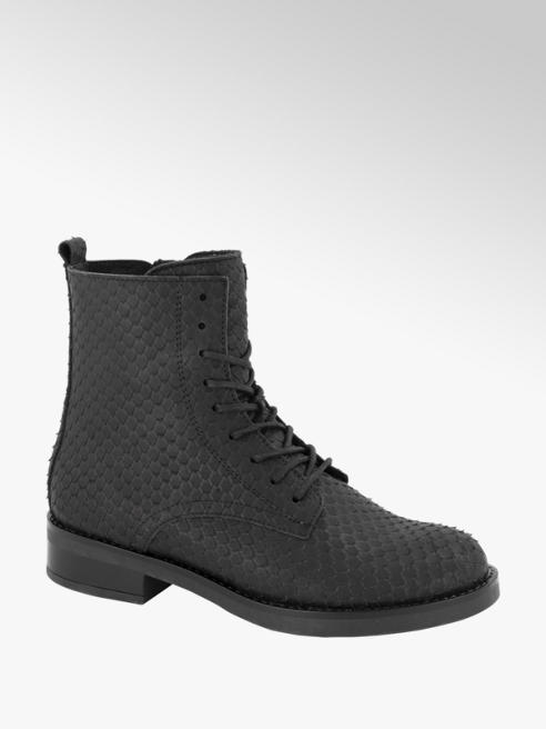 5th Avenue Zwarte leren veterboot python