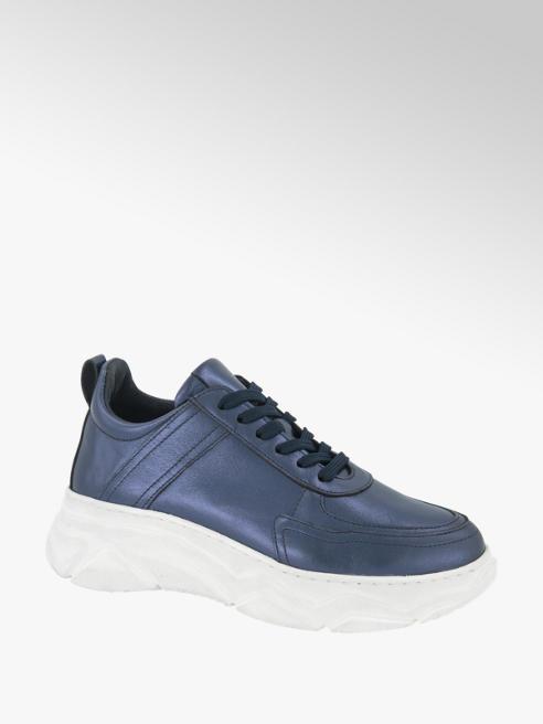 5th Avenue Donkerblauwe leren chunky sneaker metallic