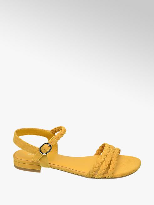 Graceland Gele sandaal gevlochten bandjes