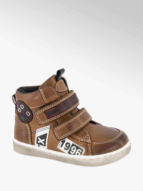 Bobbi-Shoes Bruine leren boot klittenbandsluiting