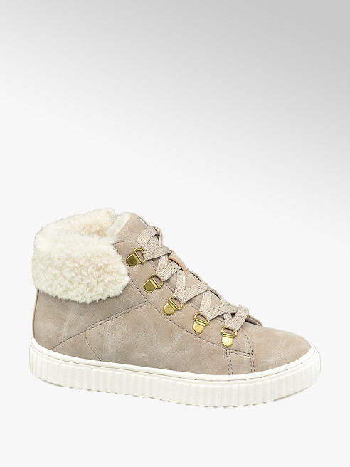 Graceland Beige hoge sneaker warm gevoerd