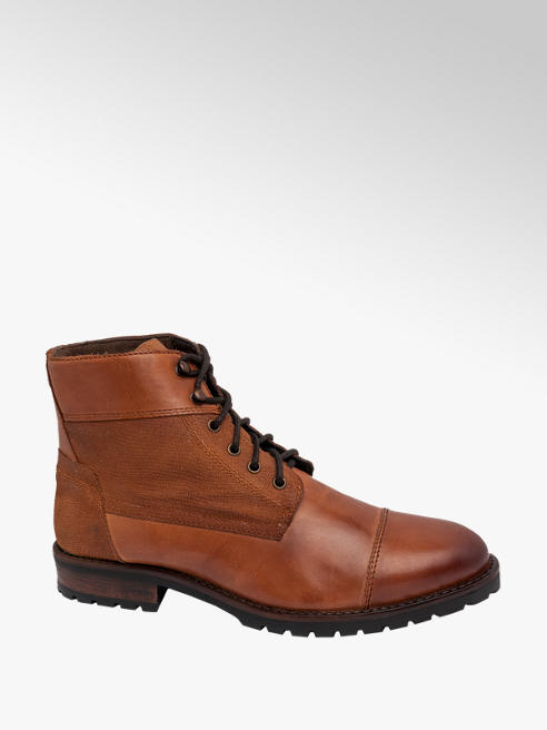 AM SHOE Mens AM Shoe Tan Leather Lace-up Boots