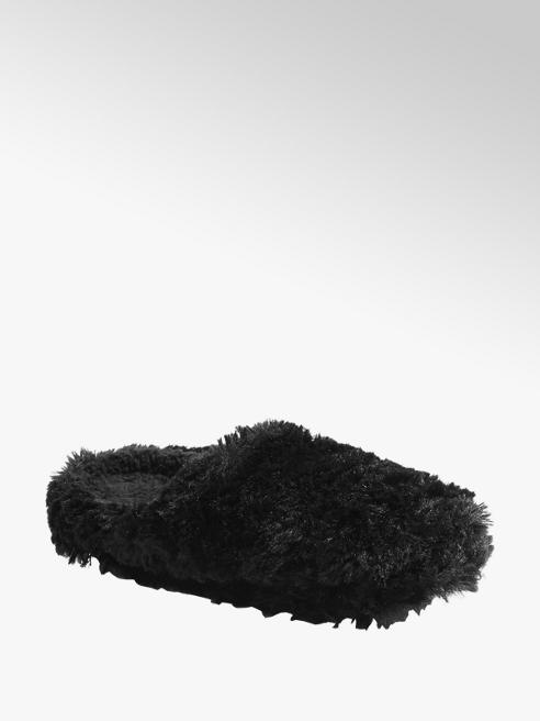 Casa mia Zwarte pluche instap pantoffel