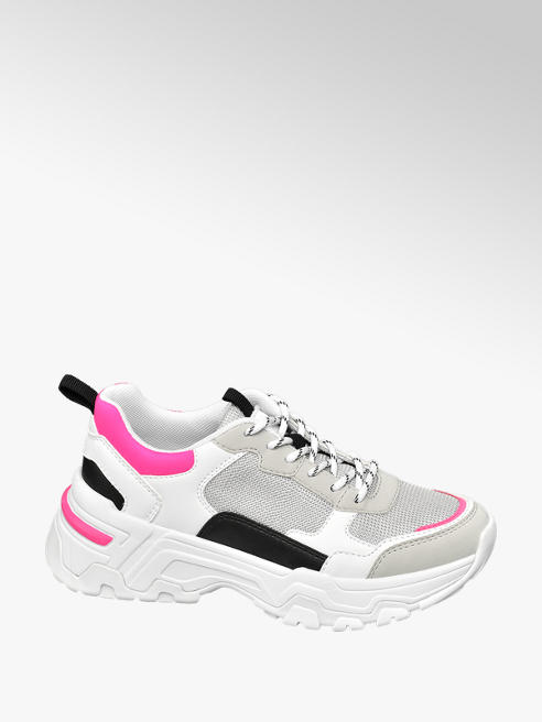 Star Collection Witte chunky sneaker neon