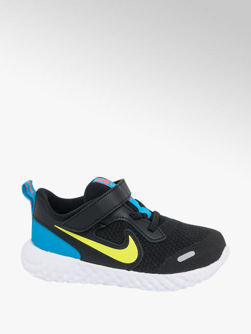 NIKE Toddler Boys Nike Revolution 5 Black Touch Strap Trainers