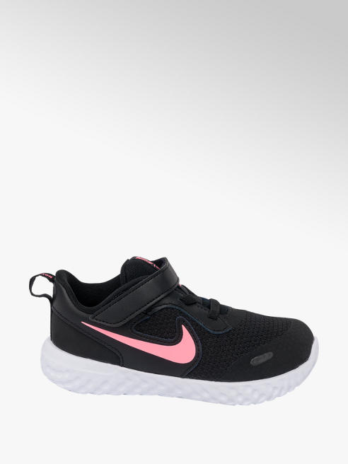 NIKE Toddler Girls Nike Revolution 5 Black Touch Strap Trainers