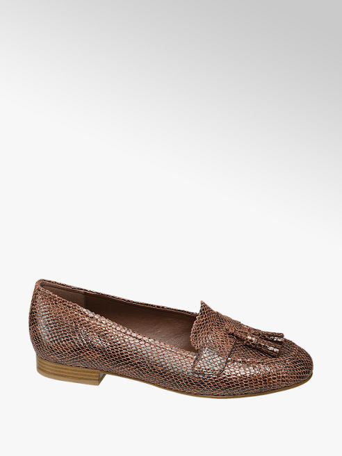 Graceland Bruine loafer slangenprint