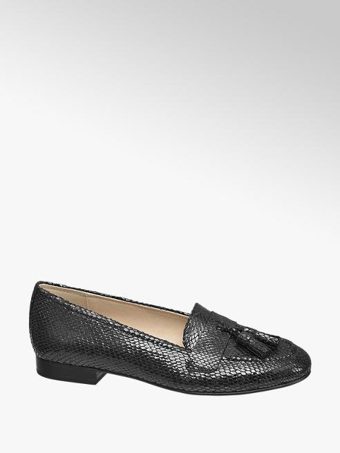 Graceland Zwarte loafer slangenprint