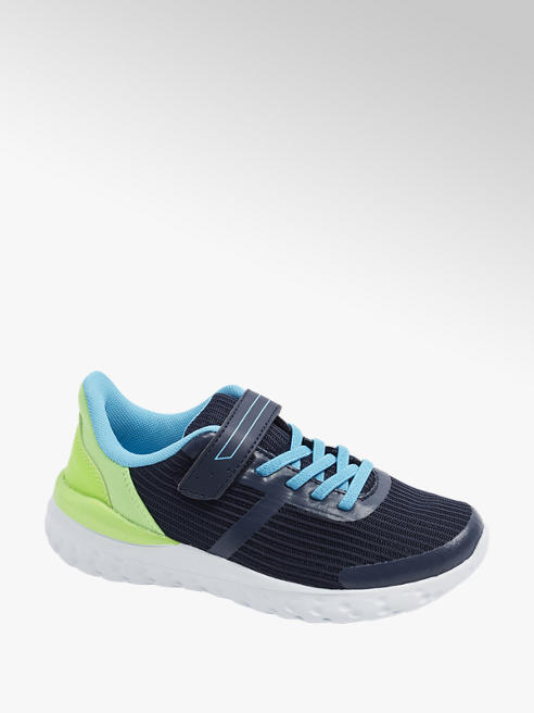 Vty Junior Boys VTY Blue/ Green Touch Strap Trainers