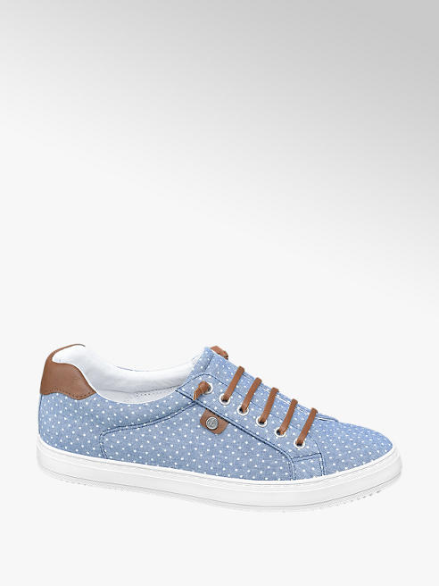 Vty Blauwe slip-on sierveter polkadot